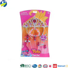 FJ brand trolls descendants 3 styles king crown kids popular kids plastic crowns and hair clip for kids princess crown girls