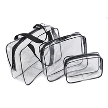 Alibaba Wholesales Free Sample Colorful 3 Sets Clear PVC Travel Cosmetic Bags
