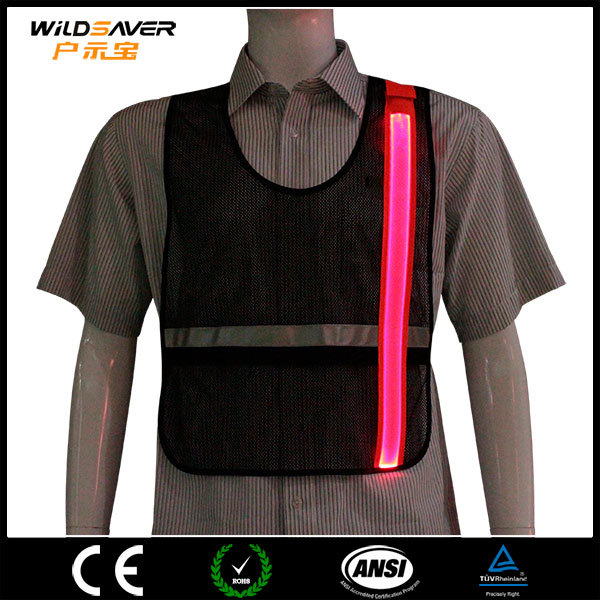 motorcycle safety mesh vest with LED fiber high quality sport t-shirt