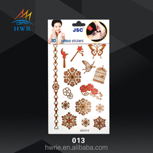 Cosmetic skin safe metallic Temporary Tattoo Sticker