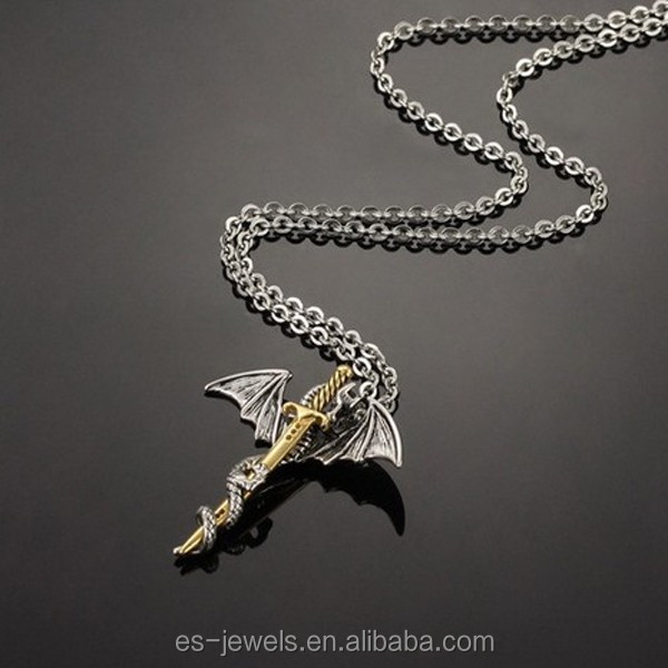(3)GX937 gold plated stainless steel Dragon Sword pendant for men