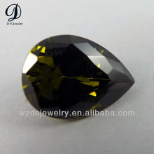 Pear Shape Synthetic Cubic Zirconia Gemstone Peridot Stone Price