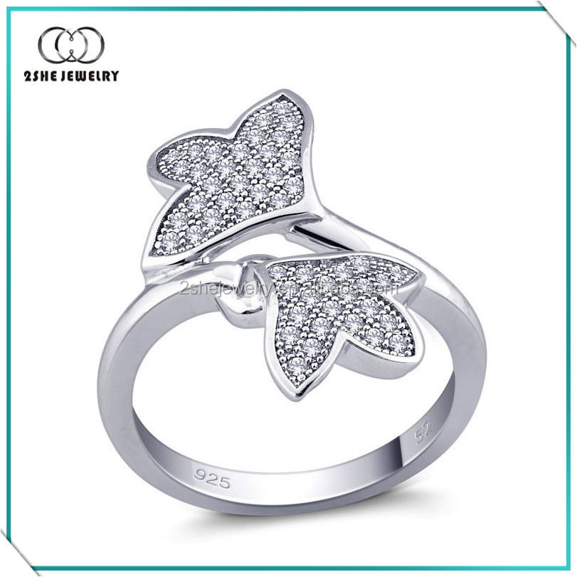 High Quality 925 silver maple leaf rings fashion pave diamond rings