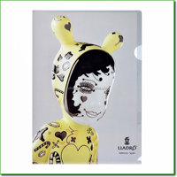 2015 Fashion A4 clear L type portfolio file folder with Clown Printing which made in Shanghai OEM factory