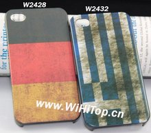 Germany/Greek Printing Old Fashion National Flag Design Hard Plastic Case for iPhone 4S Factory Price+Top Quality