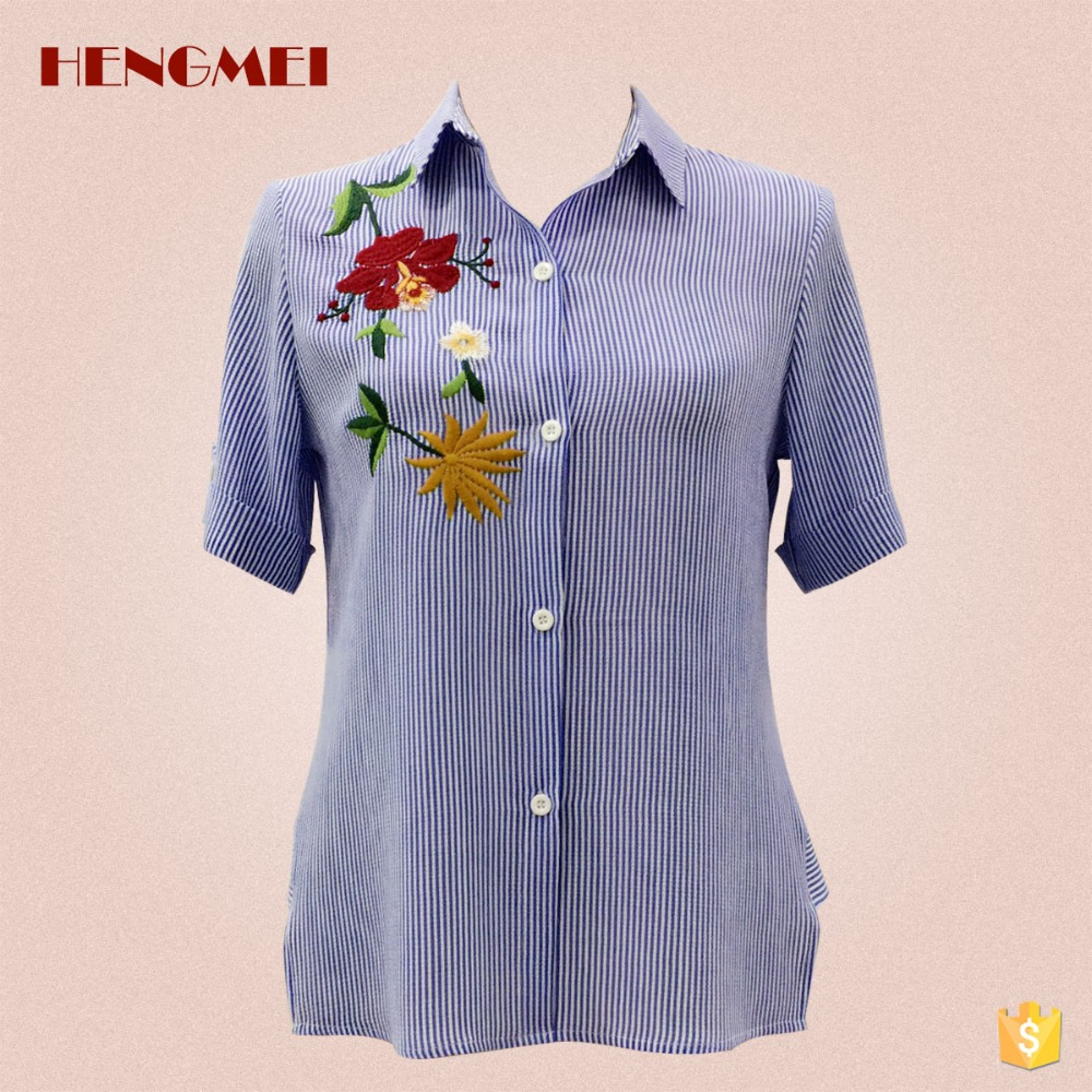 Clothing supplier embroidered summer short front long back chiffon shirt blouse for women