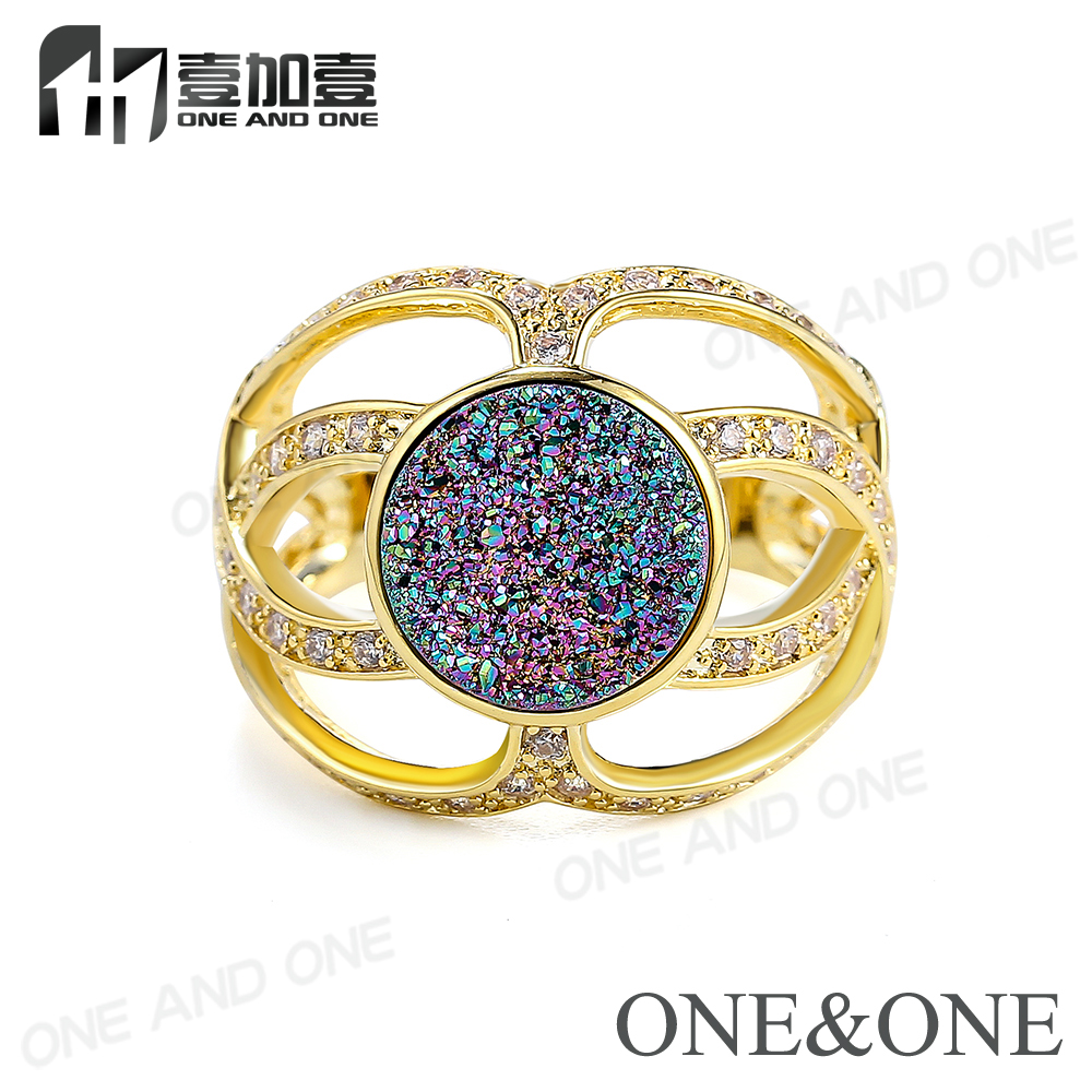 2017 Natural Stone Agate Crystal Brand Ring For Women Druzy Drusy Rainbow Green Big Rings Jewelry