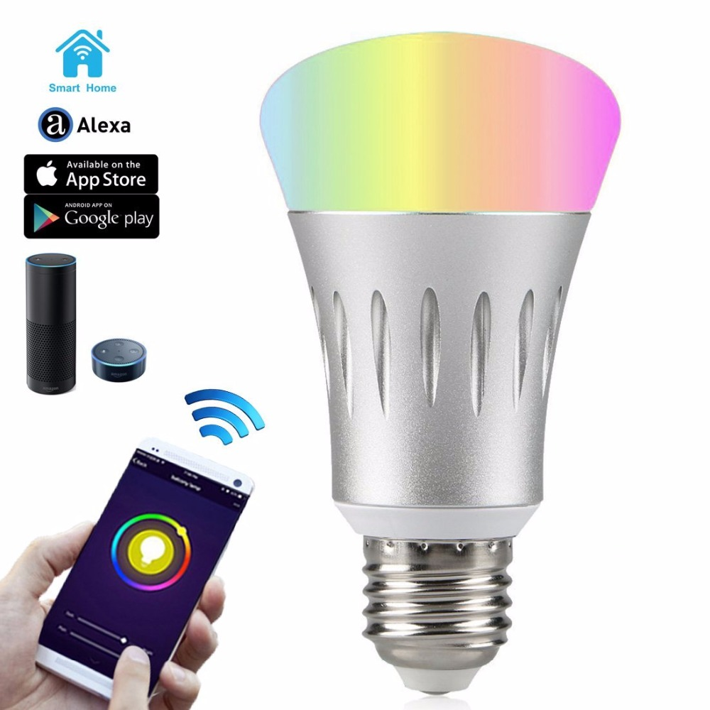 Work with Amazon Alexa E27 7W RGB Alexa-Enabled Smartphone Control Smart Home Wifi Led Bulb