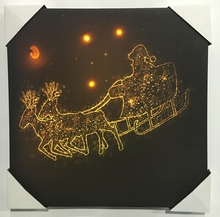 Professional wall art christmas led light canvas painting with decorative frame