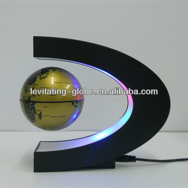 Magnetic floating and rotating globe, magnetic suspended globe-gold globe