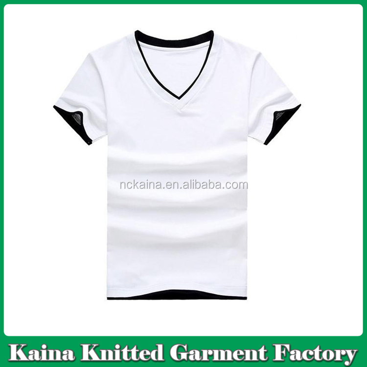 V neck custom logo color combination men's blank t-shirt