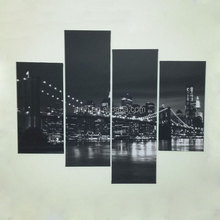 Design Art - 4 Piece Black & White New York Brooklyn Bridge Canvas Print Wall Art Wrapped on Canvas Sets