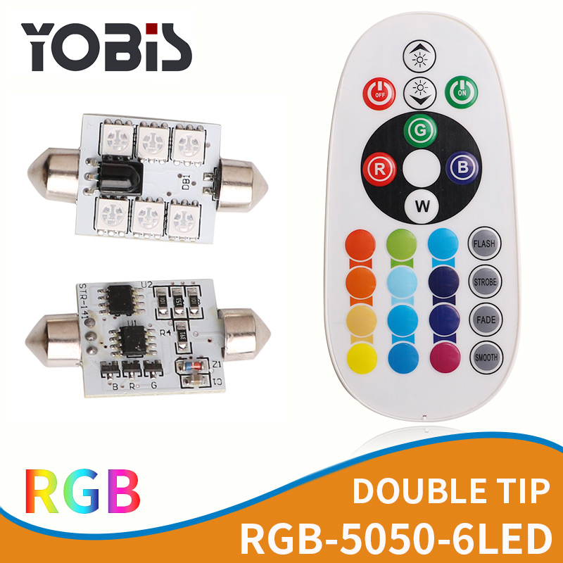 2pcs Festoon RGB LED Car Dome Reading Light Lamp Bulb+Remote Control