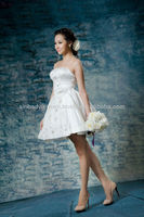 Newest Fashion High Low Sweetheart Beaded White Ruched Lace up Sexy Short Wedding Dresses 2014