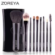 9pcs classical black make up with animal hair cosmetic brush set