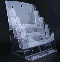 4 Tier Acrylic Molding Brochures/Menu/Magazine Holder Wall Mounted and