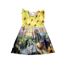 Fashion Design Small Girls Dress Popular Baby Girl Castle Pattern Summer Sleeveless Children Baby Girl Dress