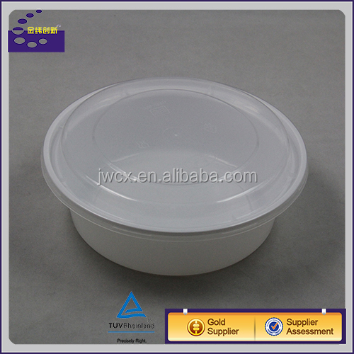 Disposable Plastic Bento Boxes Plastic Container With Lids Round 900 ml