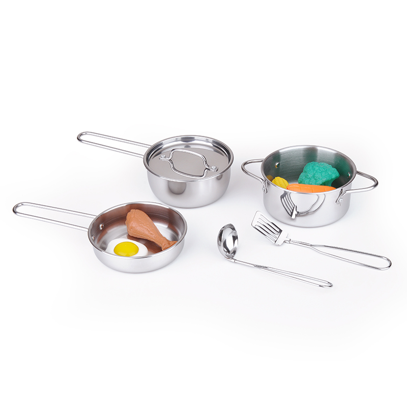 2018 hot sale Pretend play kitchen toy stainless steel kitchen set toy for kids