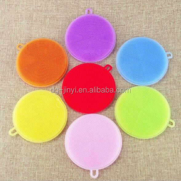 Round shaped kitchen dish brush silicone dish washing brushes