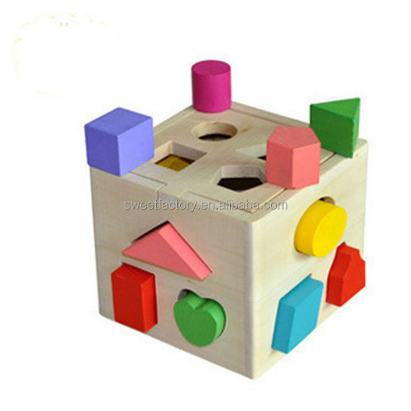 Wooden building blocks geometric shape recognition box toy for kids