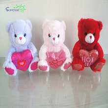 High quality salable custom pink color red heart teddy bear plush valentines day toy