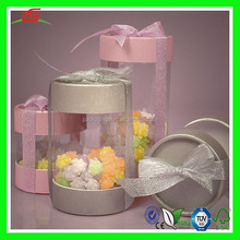 NZ066 Plastic Cylider Container Favor Candy Box Package with Paper Cap