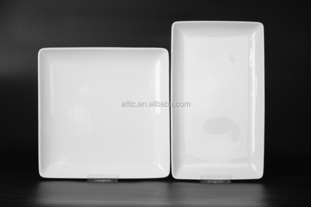 ceramic pie ractangle or square white plate wholesale