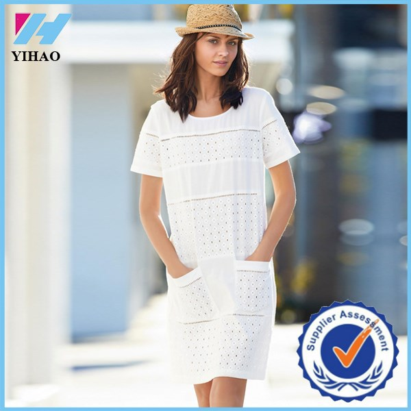 Trade Assurance Yihao 2015 Summer new design Dress ladies fashion Broderie Dress wholesale Dress