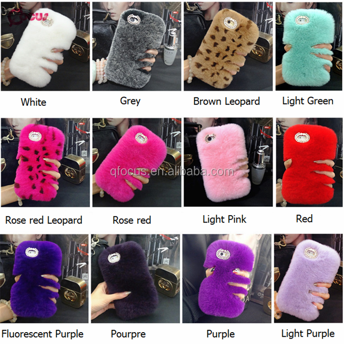 Fashional and Luxury Diamond PC Rabit Furry Fur Phone Case for iPhone 7 Plus
