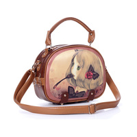 Women New Fashion Cartoon Girl Print PU Leather Messenger Bags, Vintage Shoulder Bags 7605