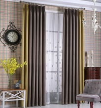 Blackout Splicing Flat Fabric Unlined Pleated Curtains Simple Country Style Drapes for Living Room/Bedroom