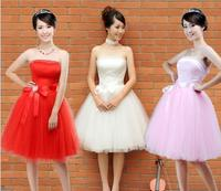 The new bride dress bridesmaid dresses short red toast show host costume