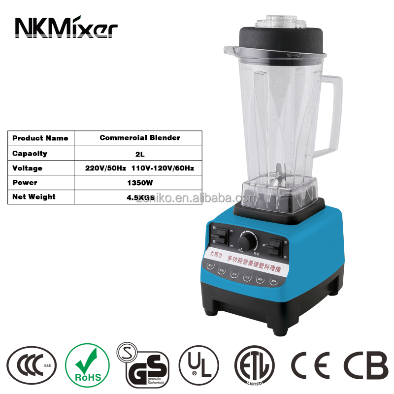 1500W 2L high speed electric commercial blender/plastic container mixer blender M350