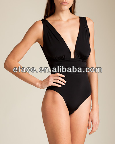solid soft slim young lady one piece swimwear
