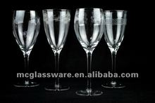 Handmade clear wine glass with elegant decoration