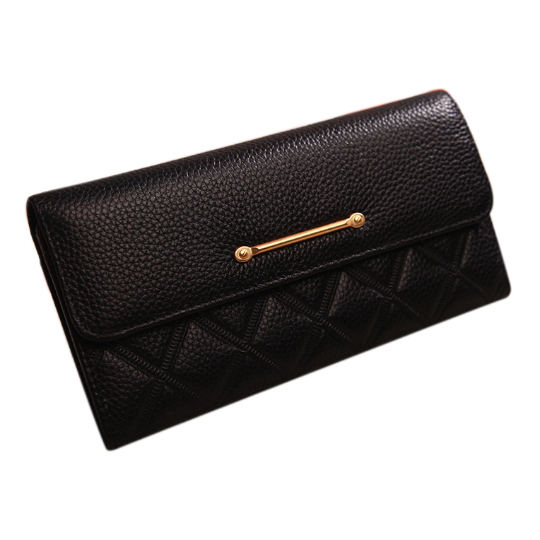 Custom high quality elegant women genuine leather quilted clutch bag