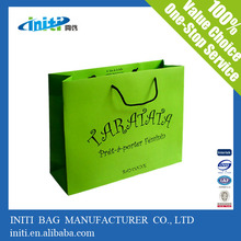 Nice Looking Promotional Customized Cheap Price Lime Green Paper Bags