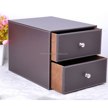 2 layer Drawer PU Leather Filing Cabinet Office Desk Organizer