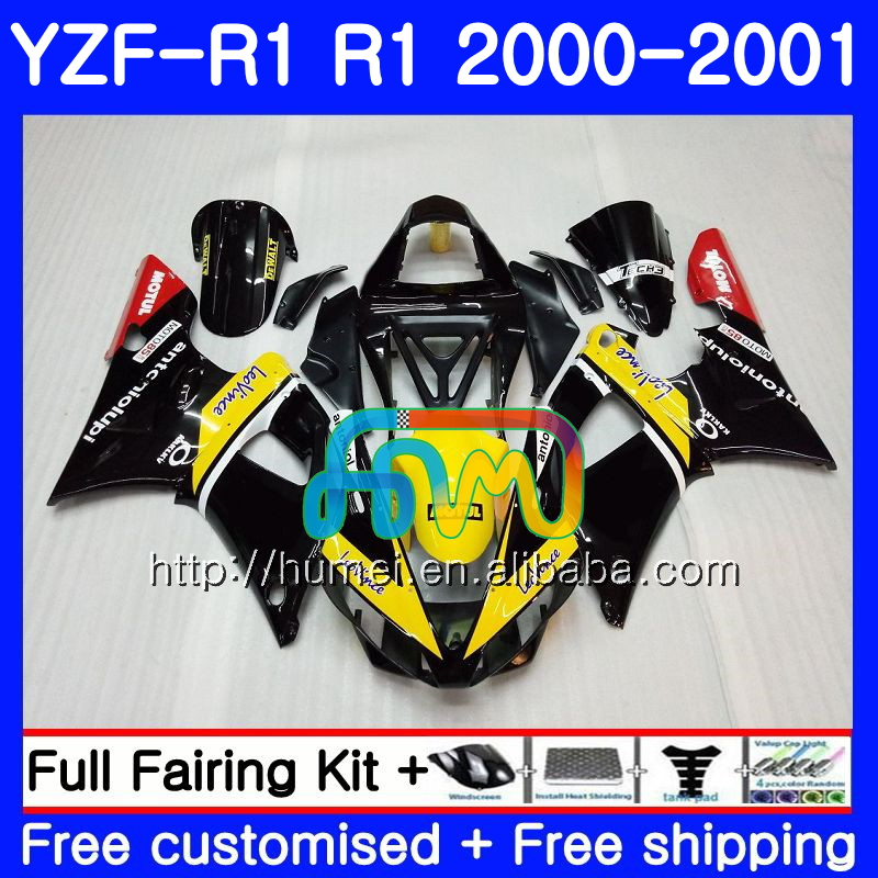 Body For YAMAHA YZF R 1 YZF 1000 Yellow black YZF-<strong>R1</strong> <strong>00</strong>-01 Bodywork 98HM19 YZF1000 YZF-1000 YZF <strong>R1</strong> <strong>00</strong> 01 YZFR1 2000 2001 Fairing