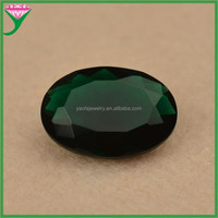 hot sale large oval dark green glass semi precious gemstone for jewellry