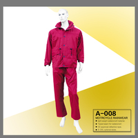 100% waterproof disposable red polyester PVC coated winter A-008 motorcycle rainwear rain coat rain jacket and rain pant