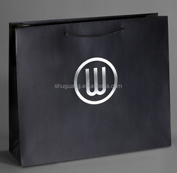Packaging Logo Silver Hot Foil Paper Shopping Bag with Full Coverage Printing