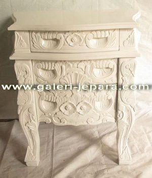 Antique Reproduction Rococo Furniture - Wood Bedside Table - Indonesia Furniture