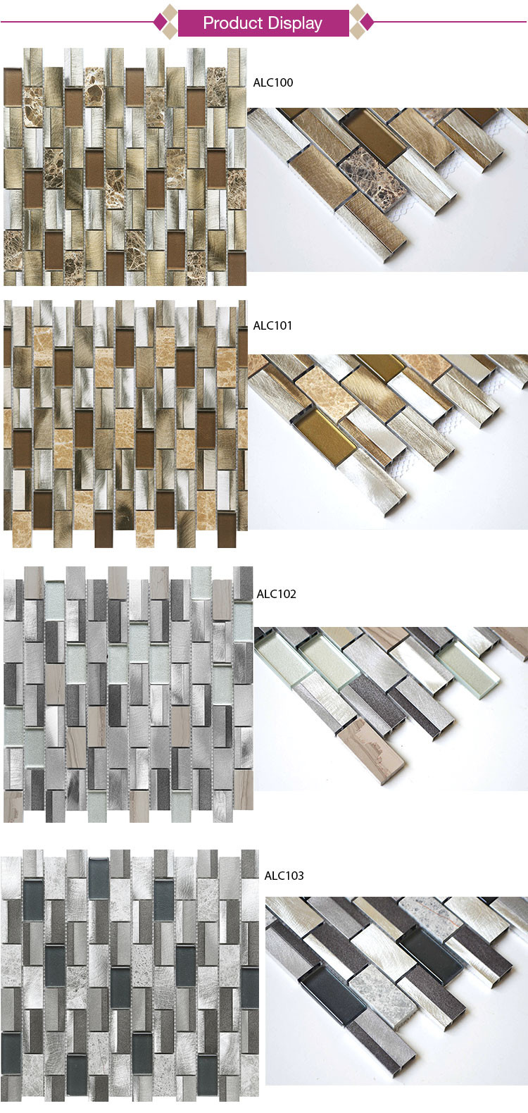China Manufacturer Irregular Shape Glass Crystal Mosaic
