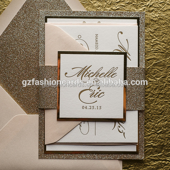 2016 Fancy Ornate Package Die Cut blush and gold glitter letterpress wedding invitation