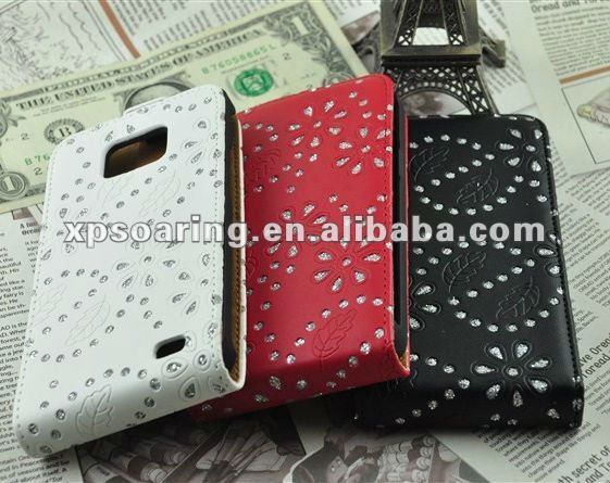 Diamond leather case pouch for Samsung Galaxy S2 i9100
