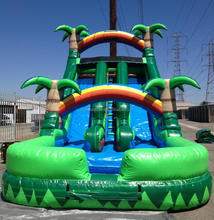 Coconut tree inflatable slide with pool,big use inflatable water slide for sale