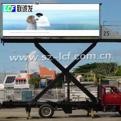 Alibaba express IP65 p10 full color led display screen outdoor mobile video ads