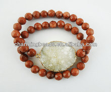 CH-JST0216 semi precious brown goldstone bead jewelry bracelet,stone bracelet with druzy